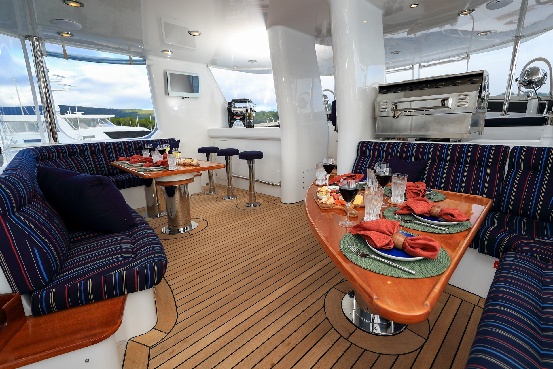 YOTSPACE superyacht voyages - Book By the Cabin - Phoenix One Flybridge Bar & Dining