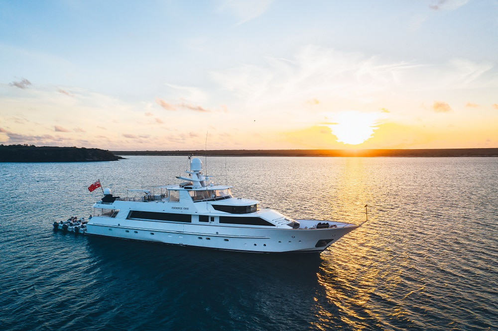 YOTSPACE superyacht voyages Great Barrier Reef - Phoenix One on sunset