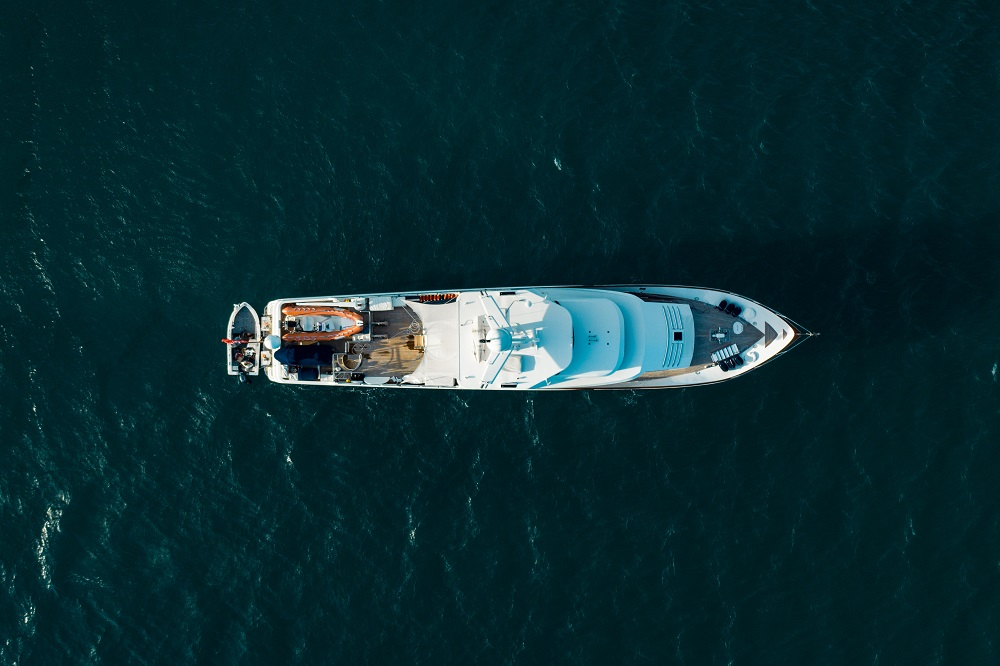 YOTSPACE - Superyacht Voyages - Aerial View of Superyacht